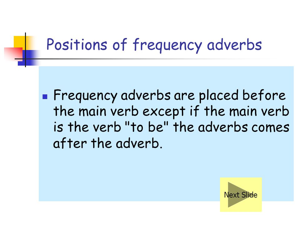 Positions of frequency adverbs