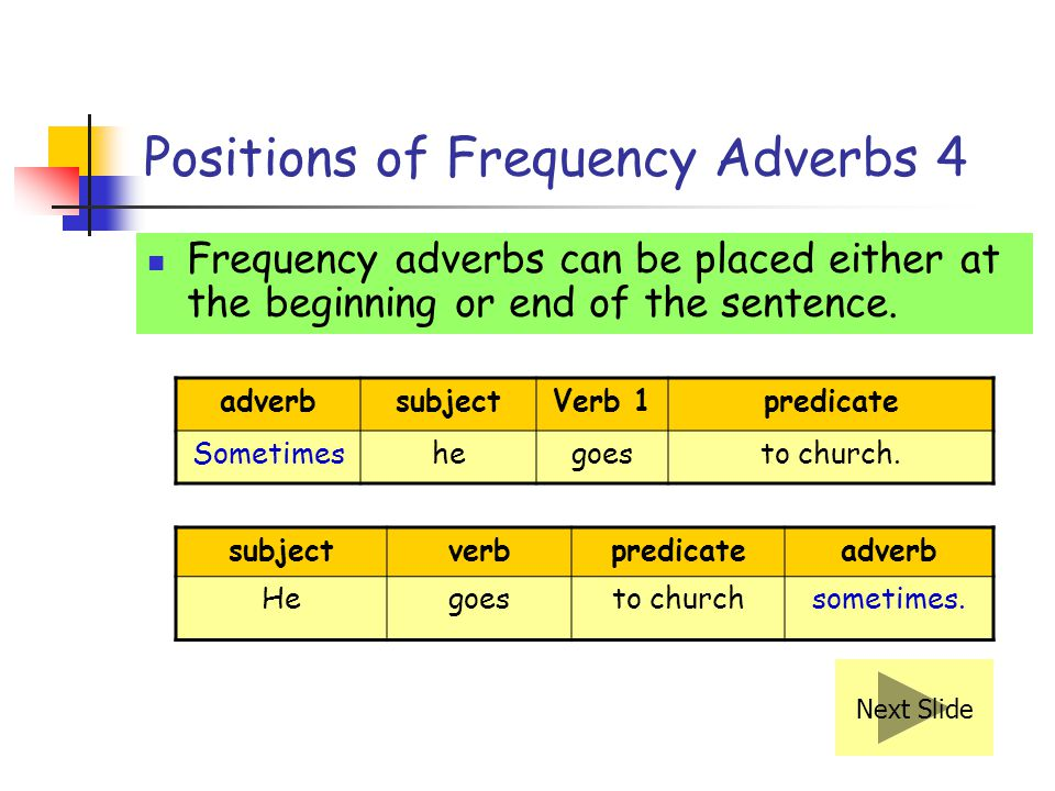 Positions of Frequency Adverbs 4