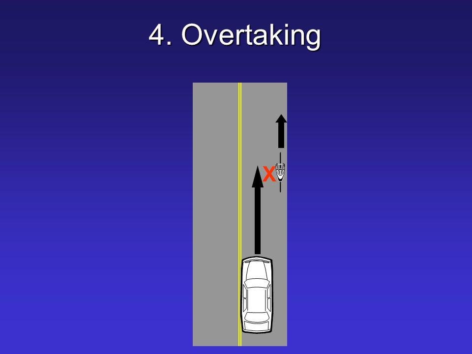 4. Overtaking X.