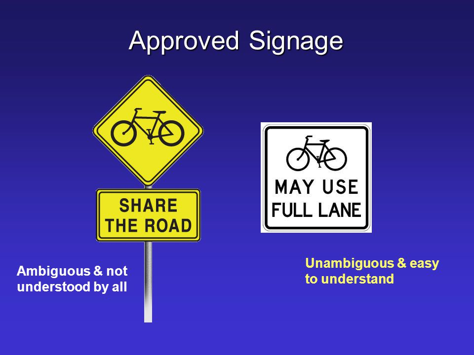 Approved Signage Unambiguous & easy to understand
