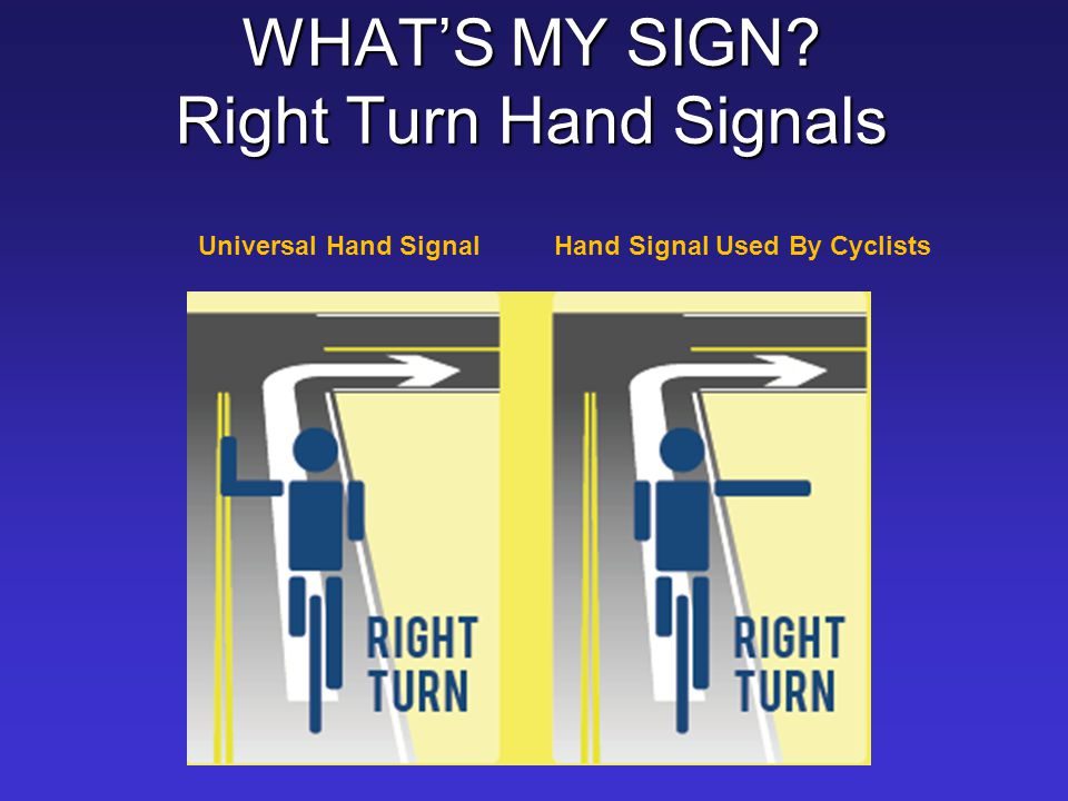 WHAT'S MY SIGN Right Turn Hand Signals