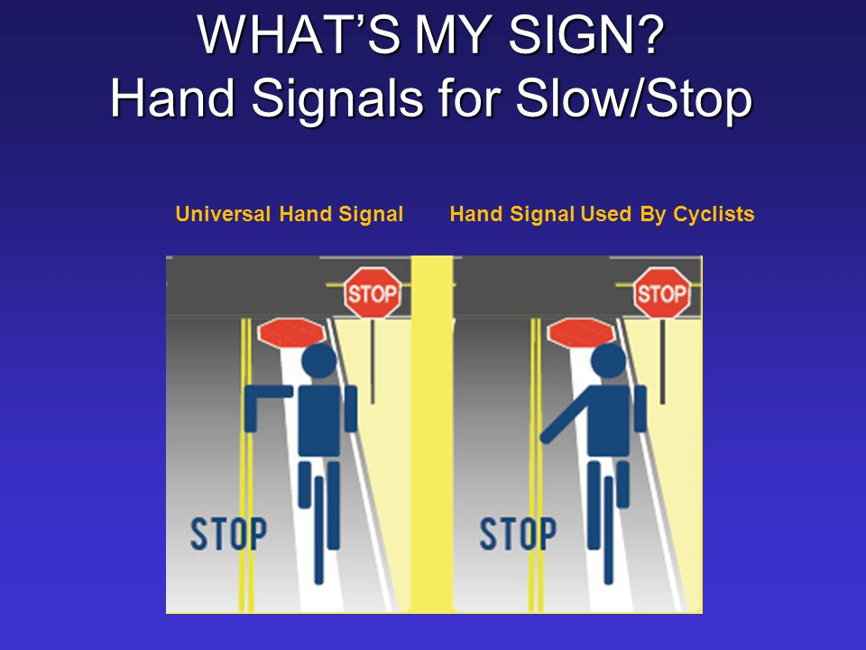 WHAT'S MY SIGN Hand Signals for Slow/Stop