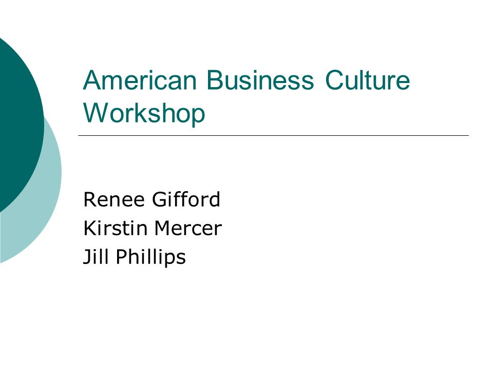 American Business Culture Workshop