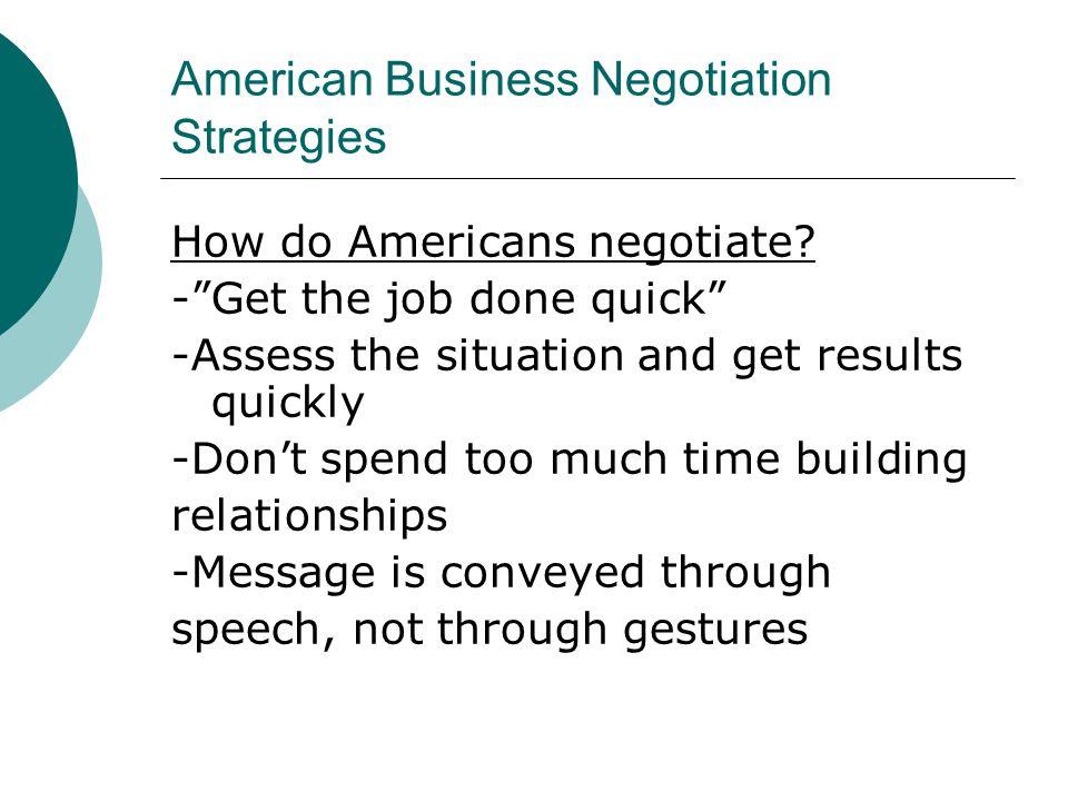 American Business Negotiation Strategies