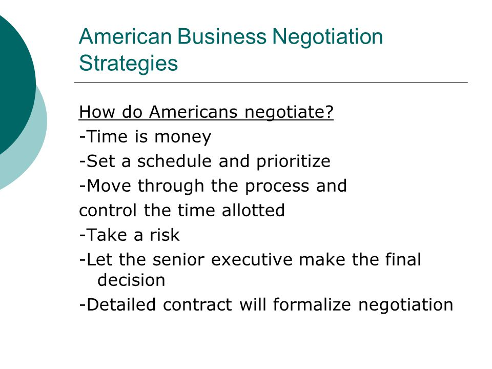 American Business Negotiation Strategies