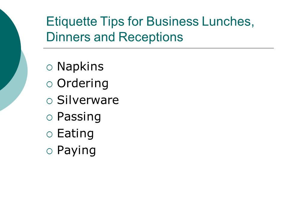 Etiquette Tips for Business Lunches, Dinners and Receptions