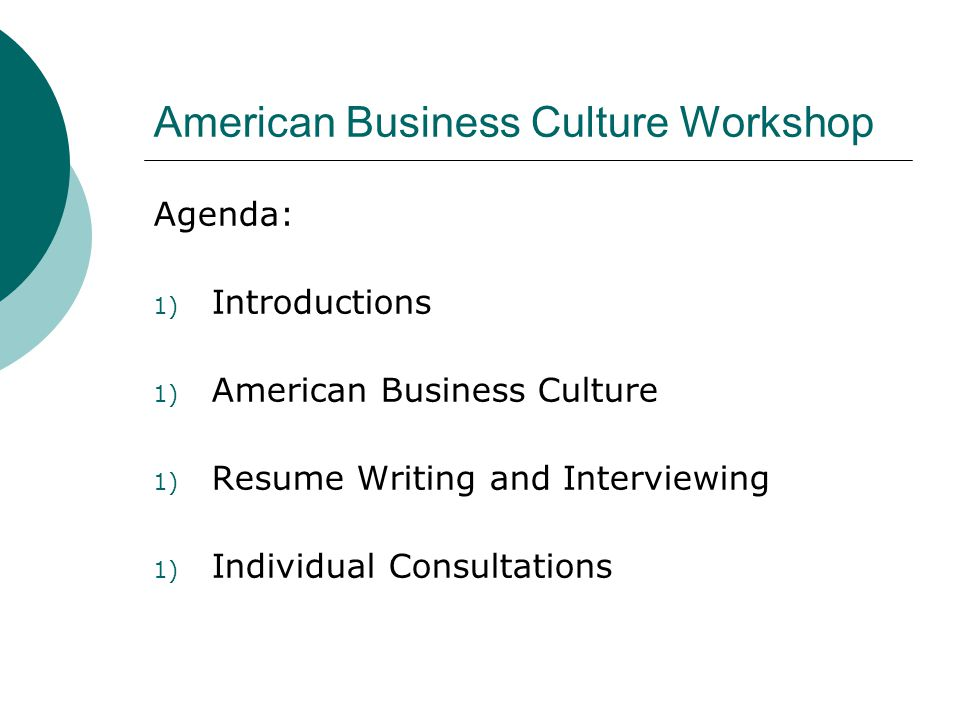 American Business Culture Workshop