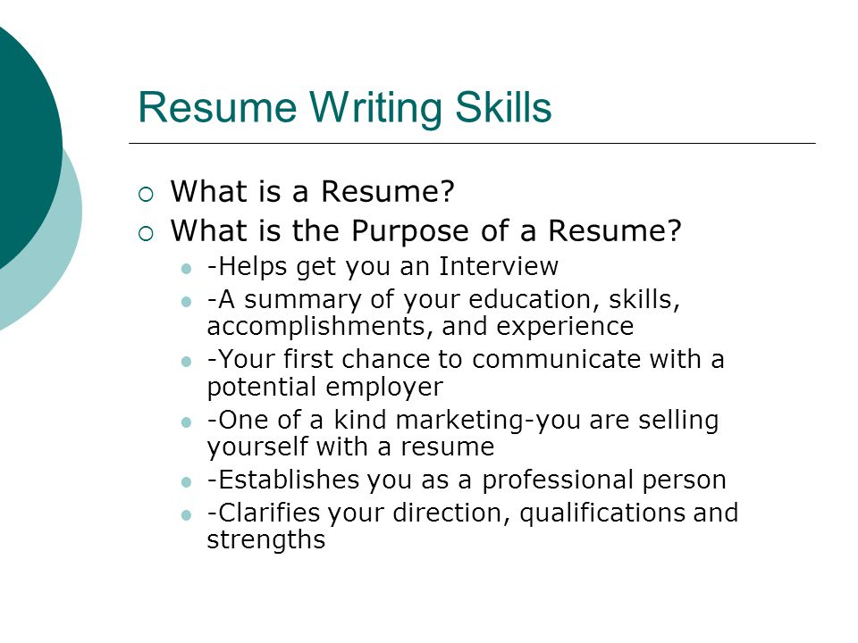 Resume Writing Skills What is a Resume
