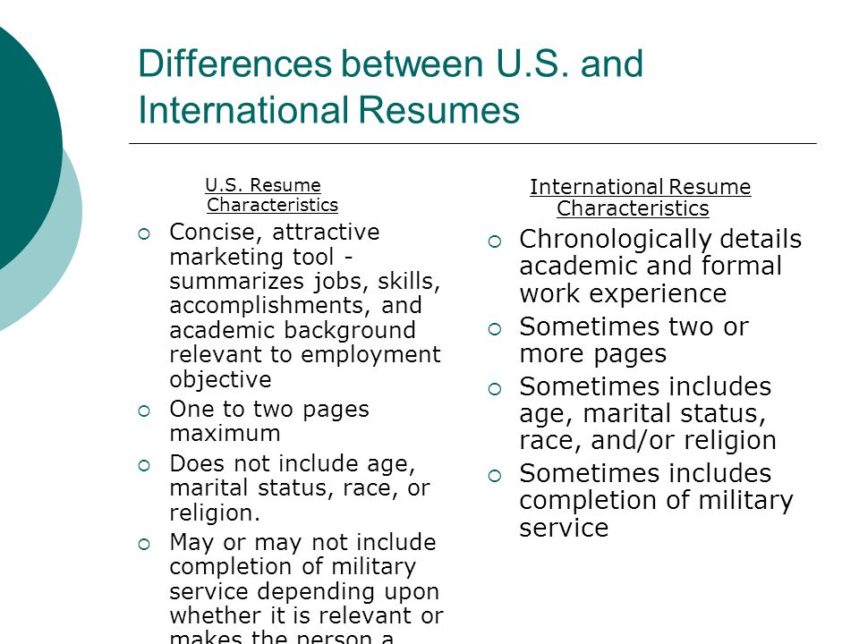 Differences between U.S. and International Resumes