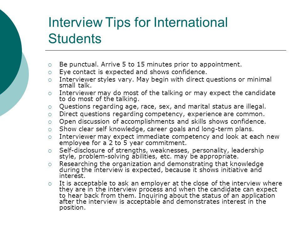 Interview Tips for International Students