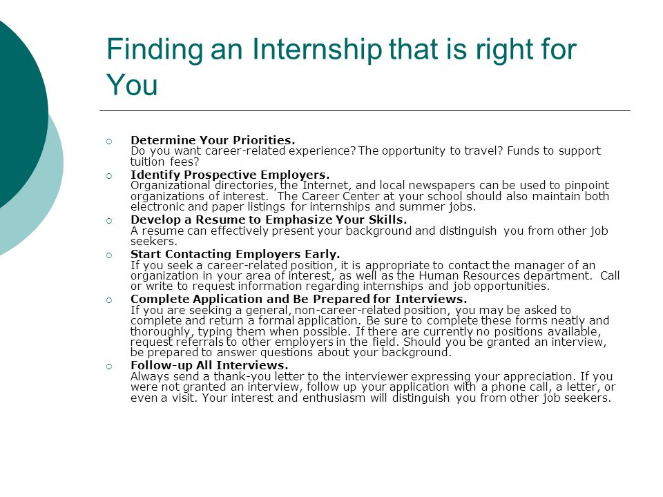 Finding an Internship that is right for You