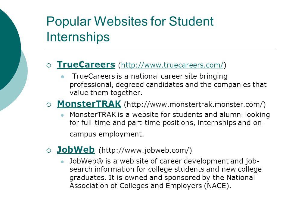 Popular Websites for Student Internships