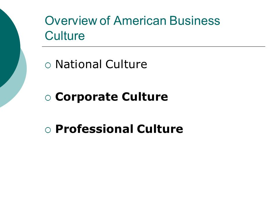Overview of American Business Culture