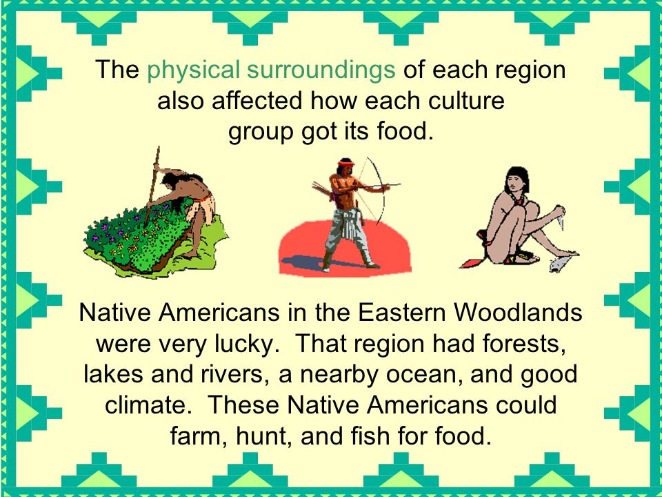 The physical surroundings of each region also affected how each culture group got its food.