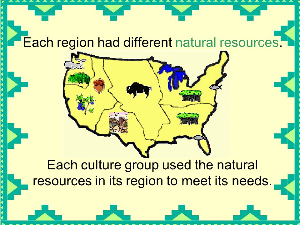 Each region had different natural resources.