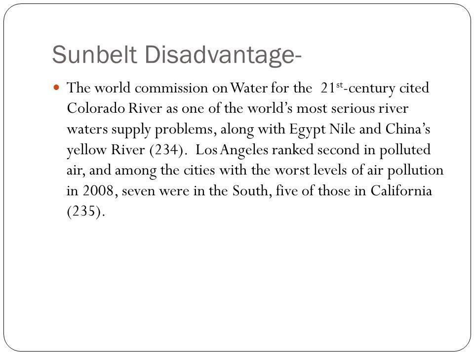Sunbelt Disadvantage-