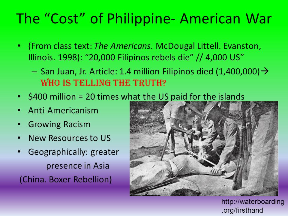 The Cost of Philippine- American War