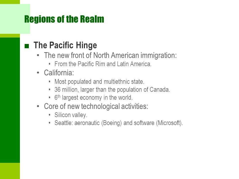 Regions of the Realm The Pacific Hinge
