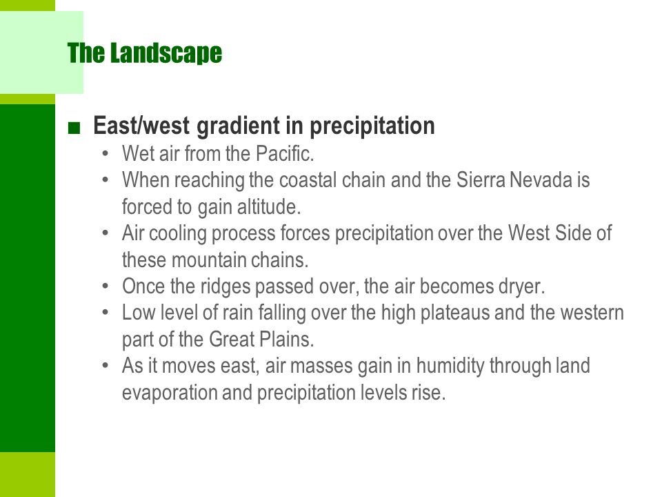 East/west gradient in precipitation
