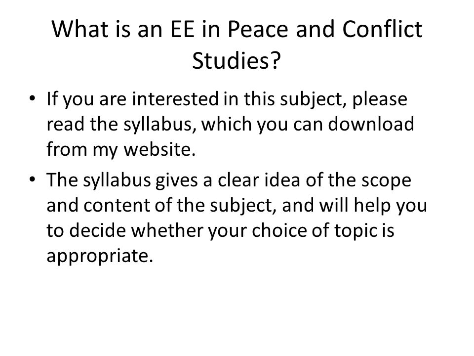 What is an EE in Peace and Conflict Studies
