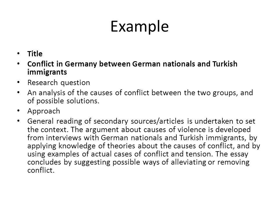 Example Title. Conflict in Germany between German nationals and Turkish immigrants. Research question.