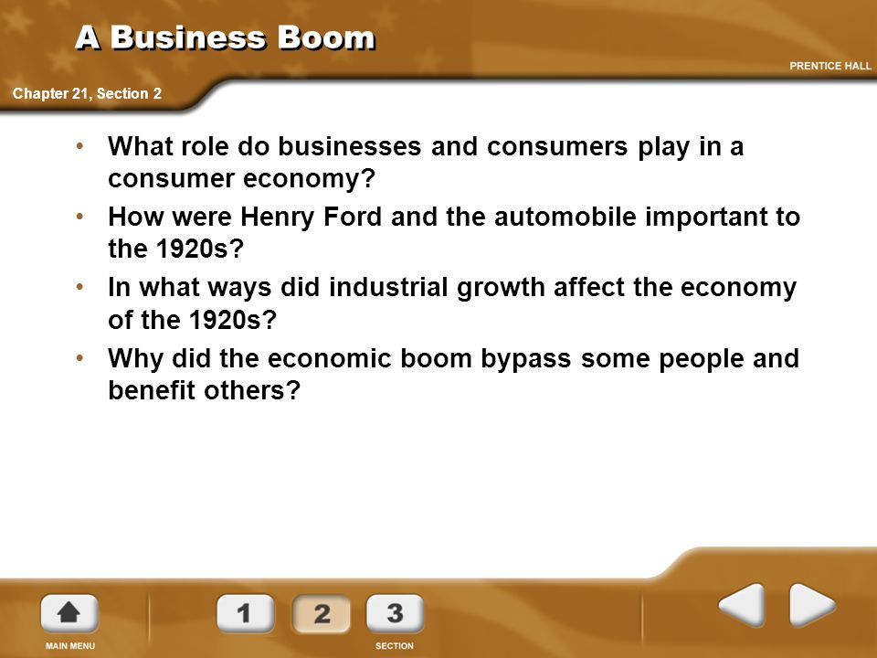 A Business Boom Chapter 21, Section 2. What role do businesses and consumers play in a consumer economy