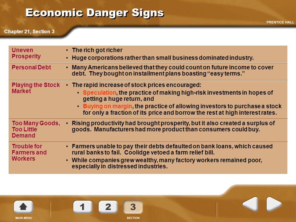 Economic Danger Signs The rich got richer