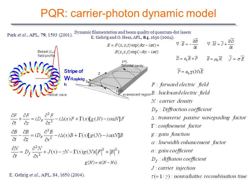 PQR: carrier-photon dynamic model