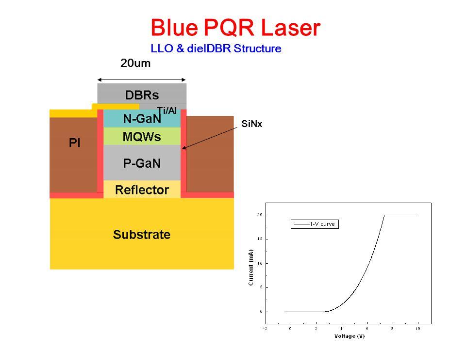 Blue PQR Laser LLO & dielDBR Structure 20um Ti/Al SiNx