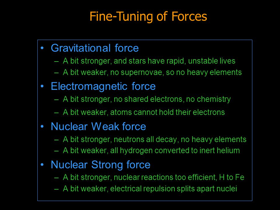 Fine-Tuning of Forces Gravitational force Electromagnetic force