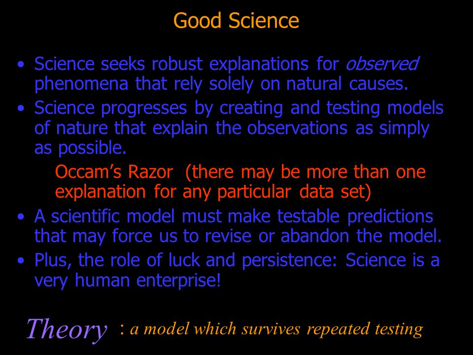 Theory Good Science : a model which survives repeated testing