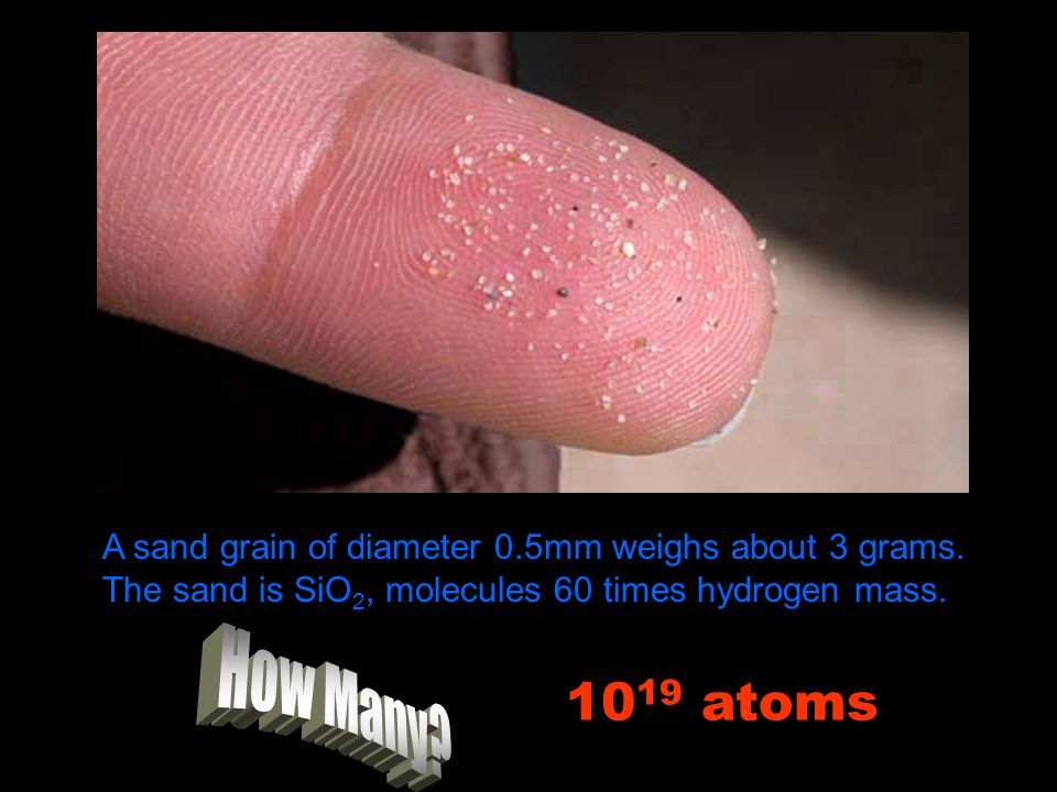 A sand grain of diameter 0. 5mm weighs about 3 grams