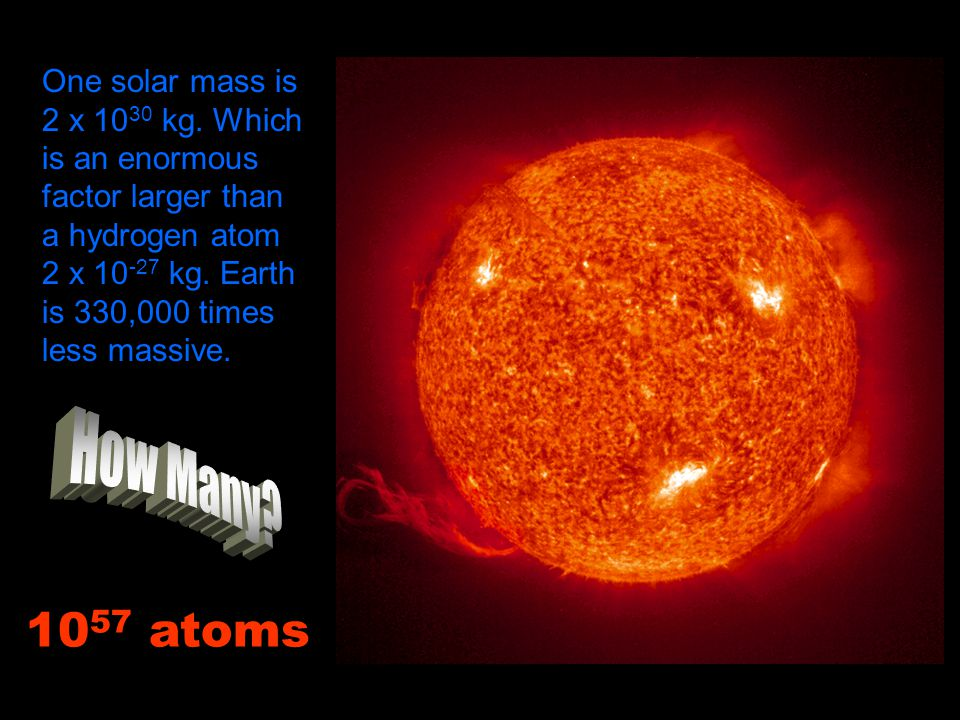 One solar mass is 2 x 1030 kg. Which is an enormous factor larger than a hydrogen atom 2 x 10-27 kg. Earth is 330,000 times less massive.