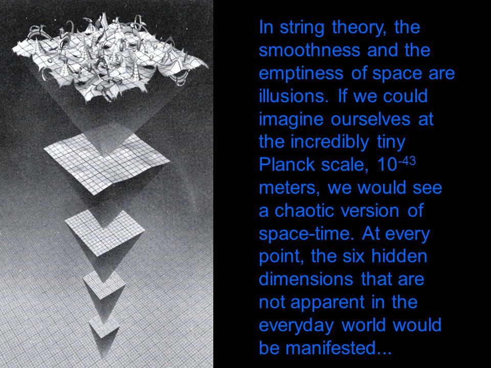 In string theory, the smoothness and the emptiness of space are illusions.