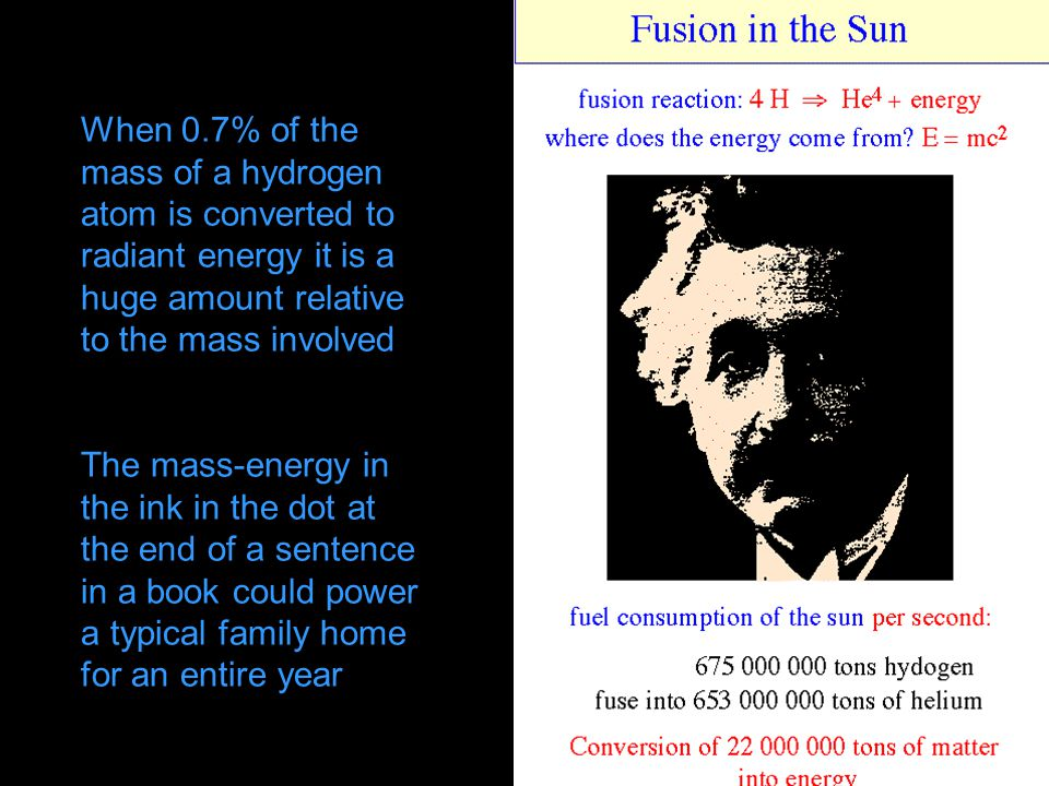 When 0.7% of the mass of a hydrogen atom is converted to radiant energy it is a huge amount relative to the mass involved
