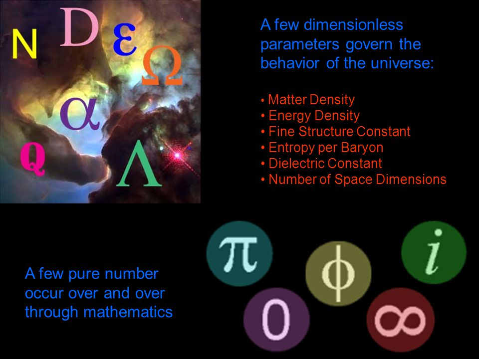 A few dimensionless parameters govern the behavior of the universe: