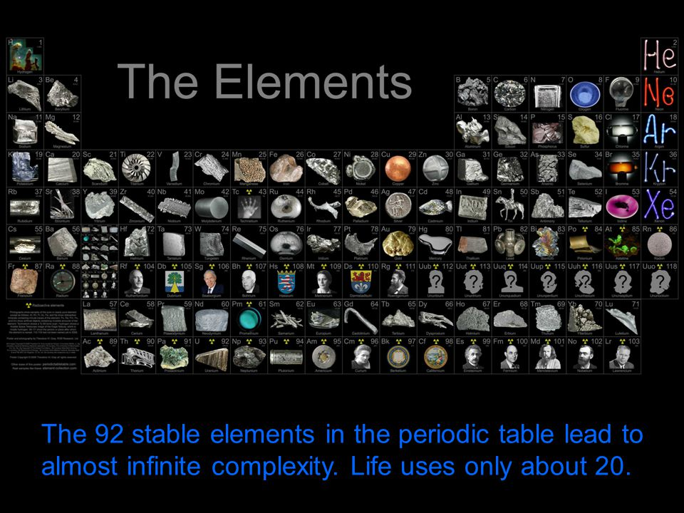 The 92 stable elements in the periodic table lead to almost infinite complexity.
