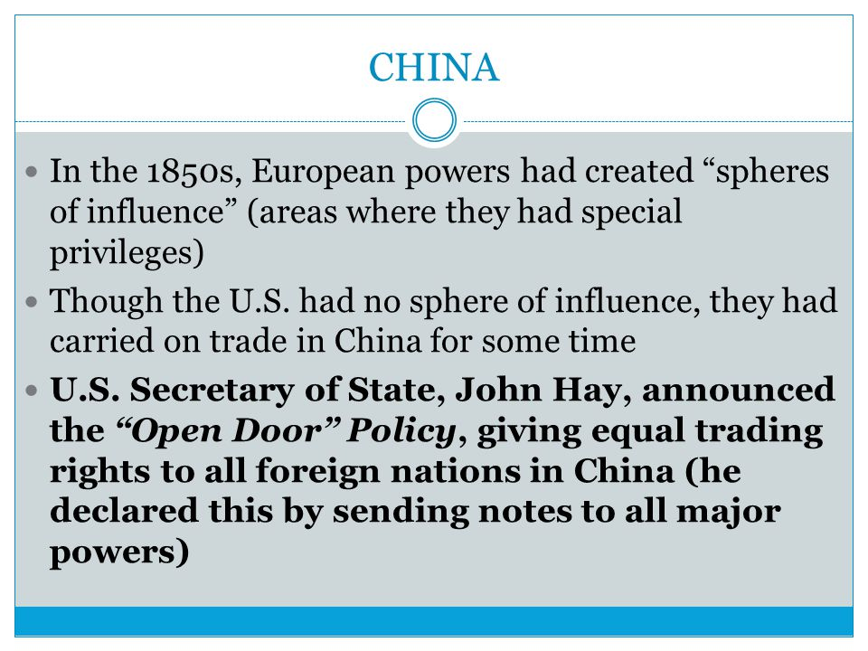 CHINA In the 1850s, European powers had created spheres of influence (areas where they had special privileges)