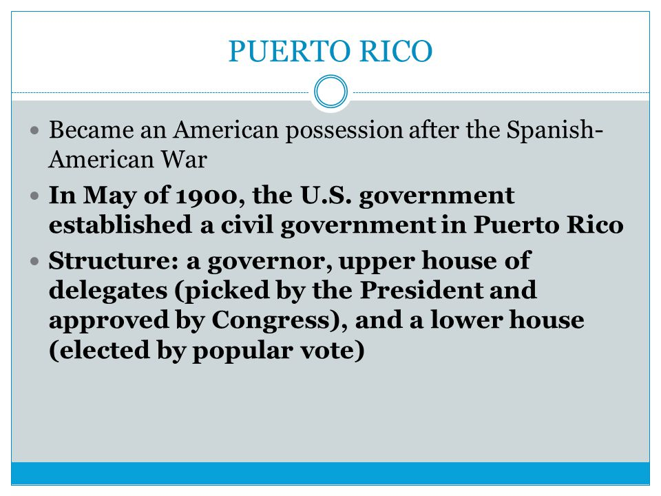 PUERTO RICO Became an American possession after the Spanish-American War.