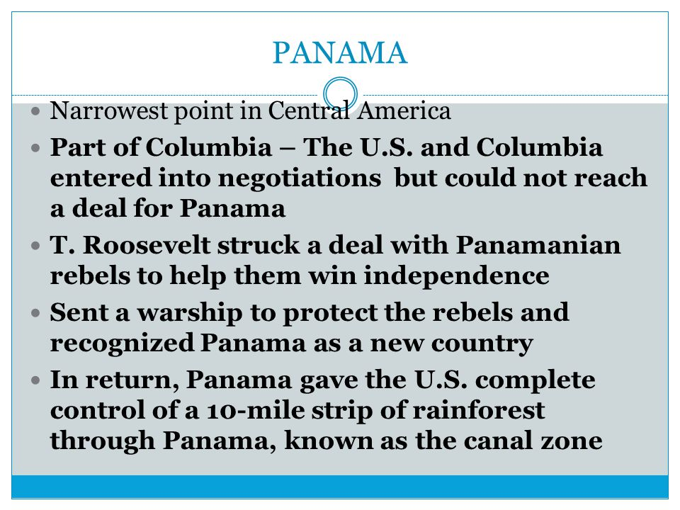 PANAMA Narrowest point in Central America