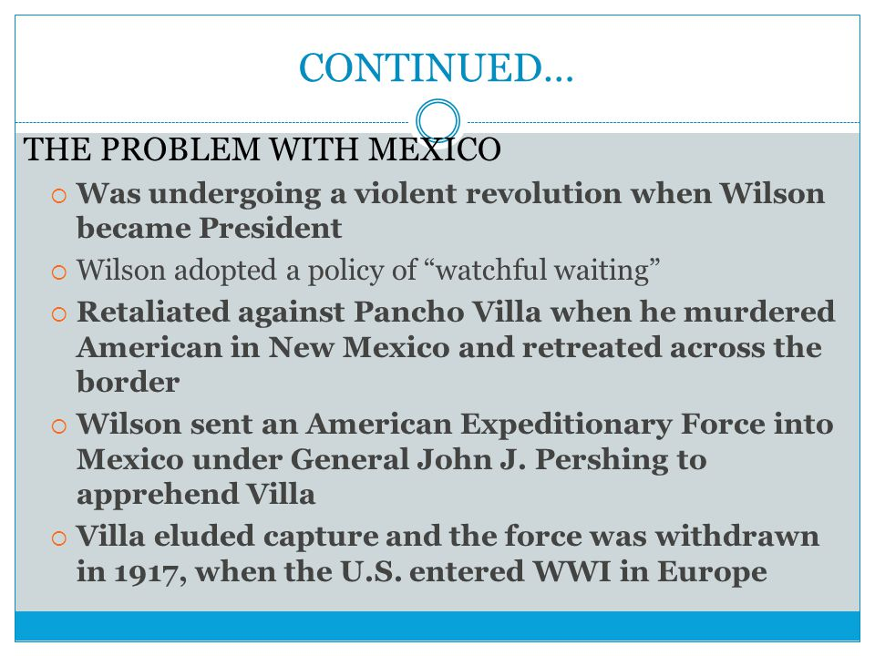 CONTINUED… THE PROBLEM WITH MEXICO