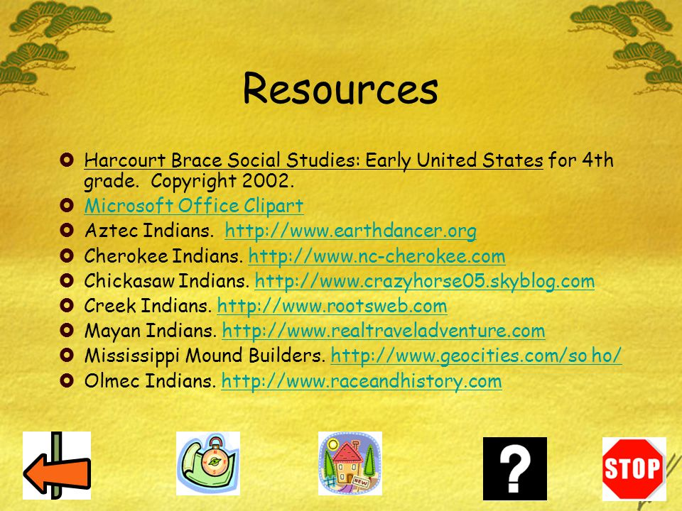 Resources Harcourt Brace Social Studies: Early United States for 4th grade. Copyright 2002. Microsoft Office Clipart.