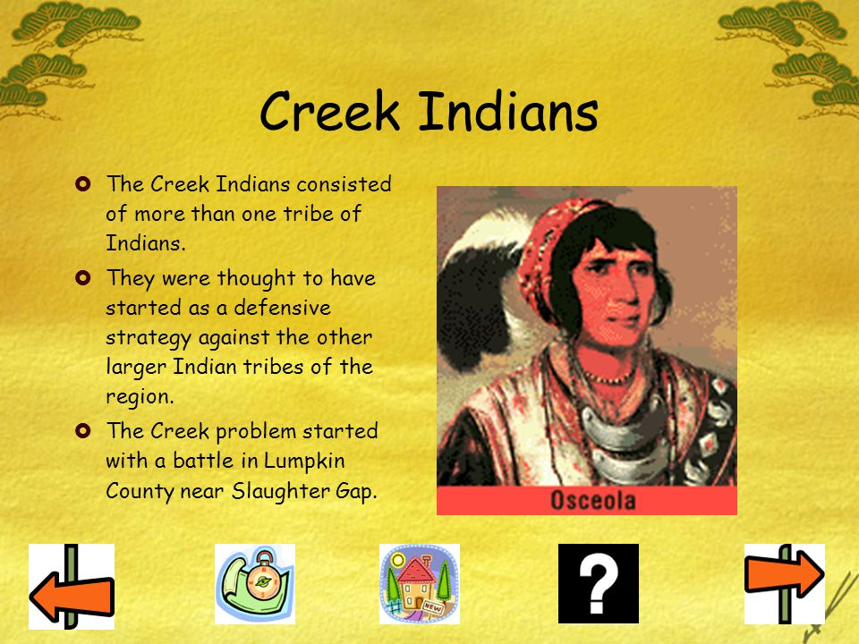 Creek Indians The Creek Indians consisted of more than one tribe of Indians.