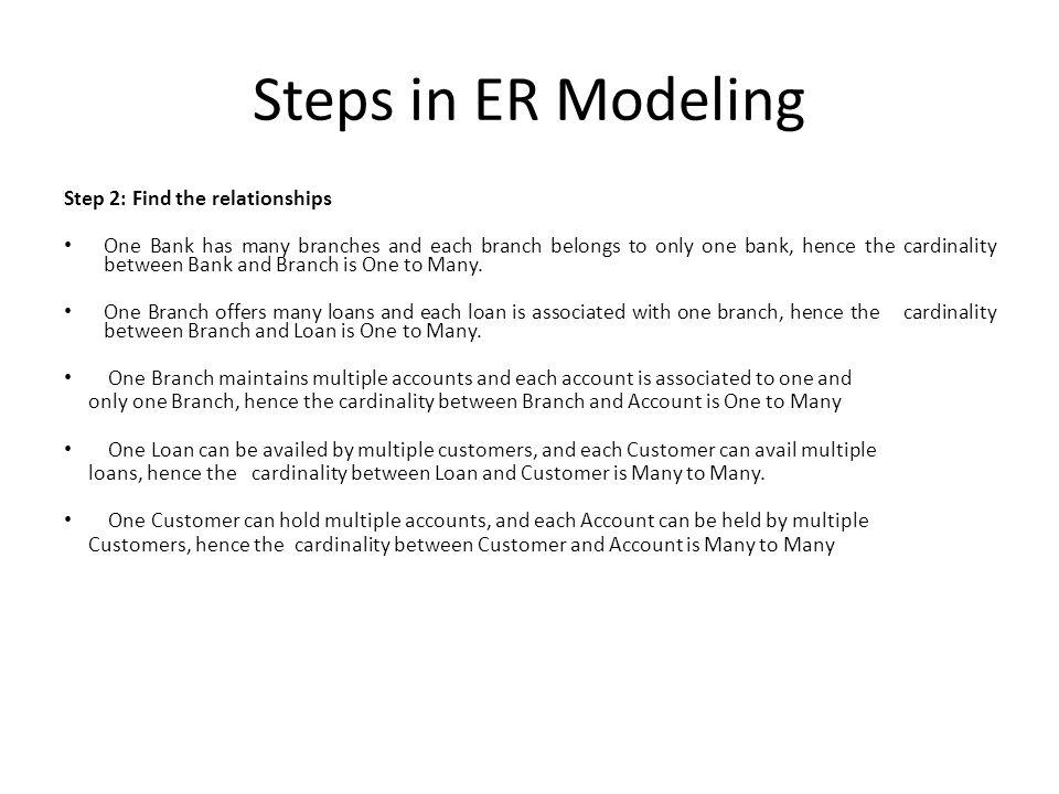 Steps in ER Modeling Step 2: Find the relationships