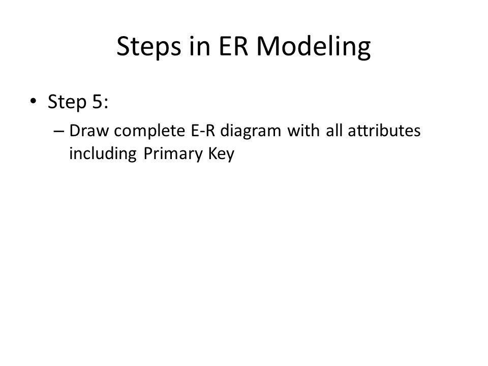 Steps in ER Modeling Step 5: