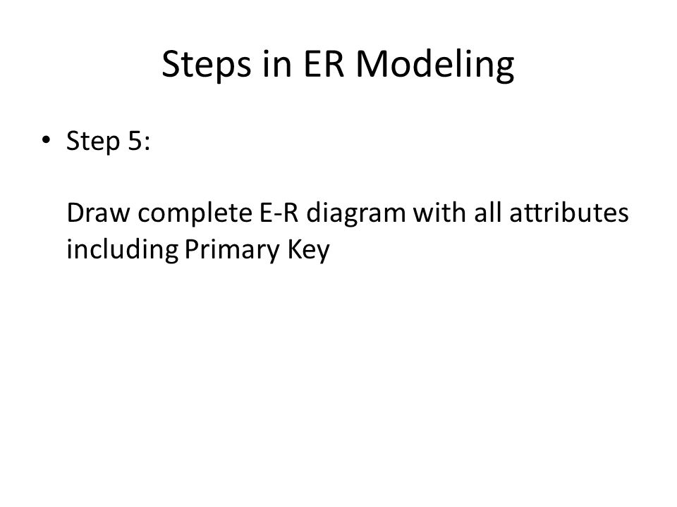 Steps in ER Modeling Step 5: Draw complete E-R diagram with all attributes including Primary Key