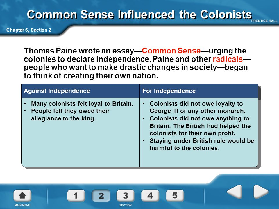 Common Sense Influenced the Colonists