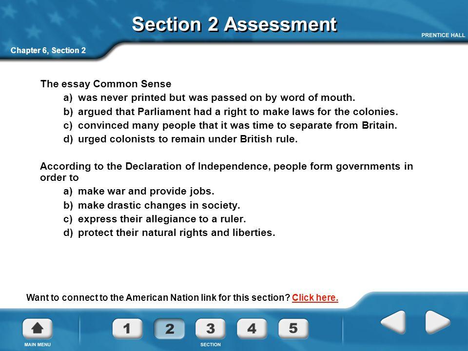 Section 2 Assessment The essay Common Sense
