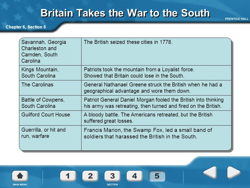 Britain Takes the War to the South