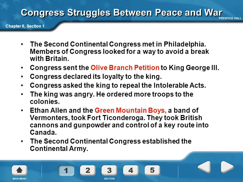 Congress Struggles Between Peace and War